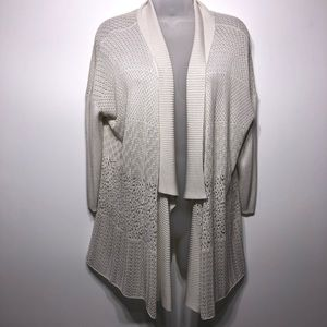 Eileen Fisher Open Knit Silk Blend Cardigan Size M